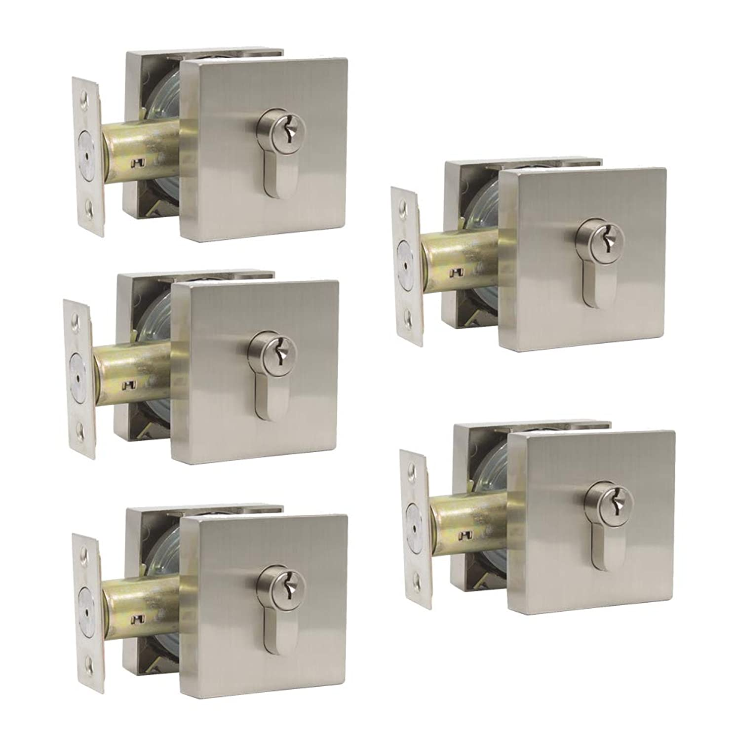 5 Pack Probrico Square Double Cylinder Deadbolt in Satin Nickel Interior Door Lockset Keyed Alike Same Key
