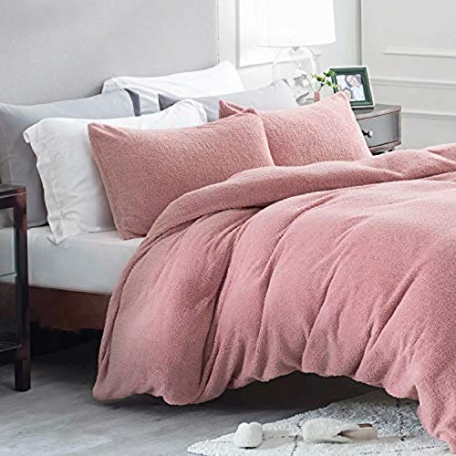 Bedsure Fleece Duvet Cover Double - Teddy Fleece Bedding 3 pcs with Zipper Closure, Rose Red, 200x200cm