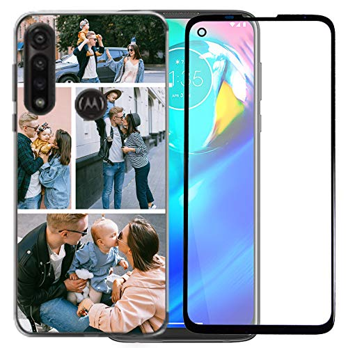 Funda de teléfono personalizada compatible con Moto G Power 2020 para damas, niñas, mujeres, madre para hombres con 1 protector de pantalla (diseño transparente)