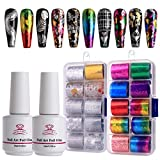 Makartt Nail Art Foil Glue Gel with Starry Sky Star Foil Stickers Set Nail Transfer Tips Manicure Art DIY...