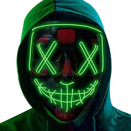 DONYA LED Máscaras Halloween, Purge Mask para Carnaval, Led Mascaras 3 Modos de...