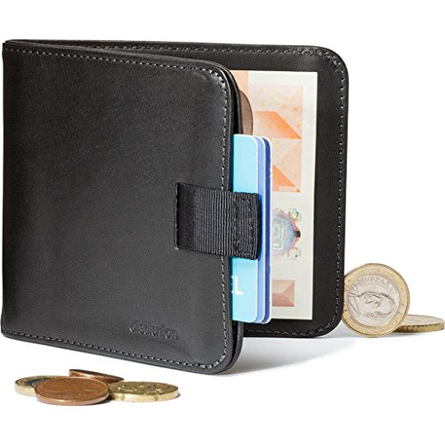 European style wallet with money clip and coin pocket