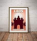 AZSTEEL Vintage Poster Laos Vientiane Patuxai | Poster No