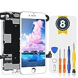 bokman LCD Pantalla para iPhone 8 Reemplazo de Pantalla LCD con Cámara Frontal, Sensor Flex, Altavoz Auricular y Herramientas de Reparación(Blanco)