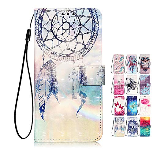 Rose-Otter Campanula Leather Wallet Flip Case with Card Slots for Samsung Galaxy A21S with 3D Pattern and Feather Dream Catcher Design