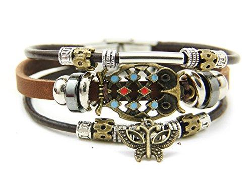 Agathe creation YS701 Pulsera tibetana de la Suerte, Colgante de Mariposa, búho de Bronce – Cuero y Perlas de Madera y Metal – Multicolor – Hecho a Mano