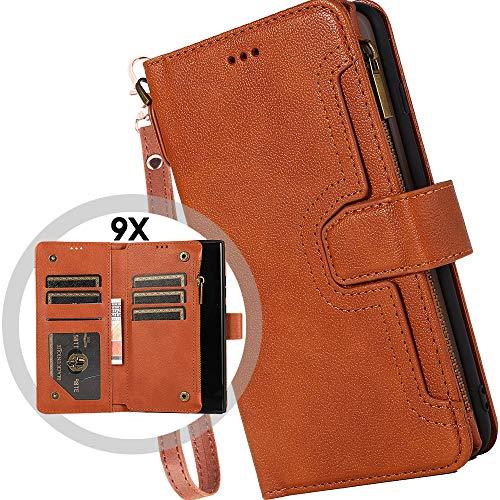 Auker - Funda tipo portafolios para Samsung Galaxy Note 20 Ultra, estilo clásico, con cierre de cierre, con 9 tarjetero y bolsillo para dinero, con función atril magnético...