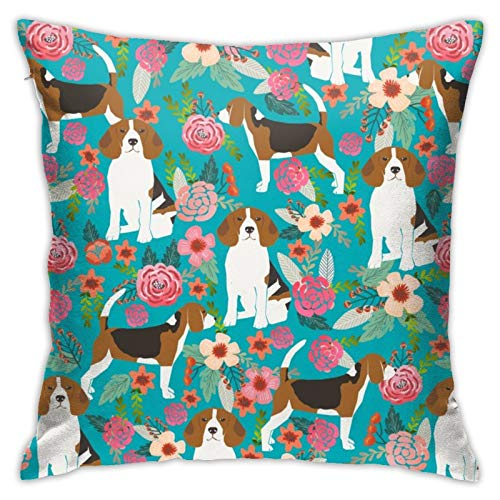 87569dwdsdwd Beagle Beagles Cute Dogs Dog Beagle Owners Florals Flowers Turquoise Cute Dogs Dog Pet Dog Square Pillow Case Home Sofa Decorative 18' X 18'Inch Ultra Soft Comfortable