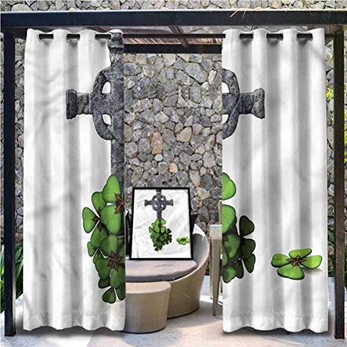Anmaseven Celtic Polyester Decoration Outdoor Sheer Curtains Thermal Insulated Blackout Outdoor Gazebo Pool Four Leaf Clover Cluster 84' W by 84' L(K214cm x G214cm)
