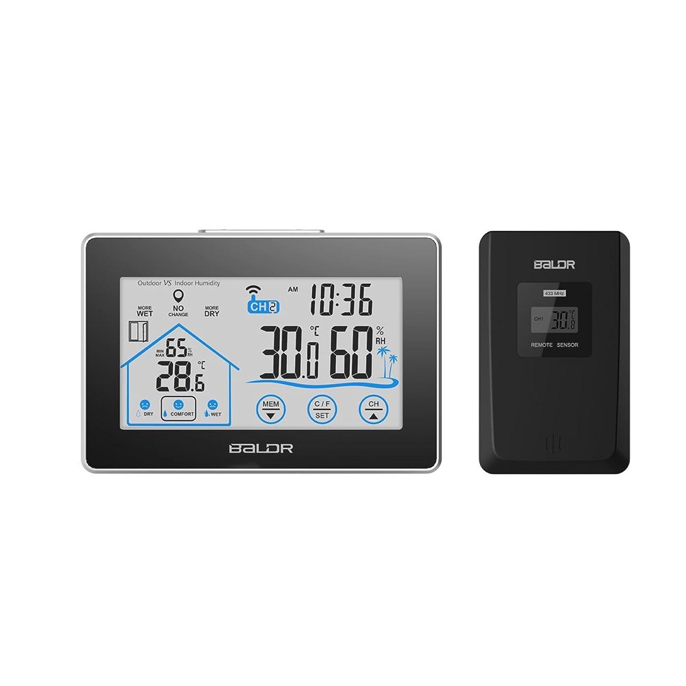 見てガラガラ定義するBALDR ワイヤレス温度計湿度計 気象計 デジタル タッチボタン 天気予報計 無線センサ付き 時間、室内室外最高最低温度湿度表示 バックライト 日本語取扱書付き
