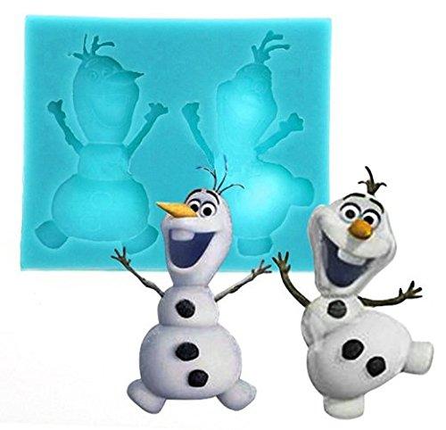 Moule en silicone avec la forme d'Olaf du dessin animé La reine des neiges. Pour pâte à sucre, fondants etc. à usage alimentaire