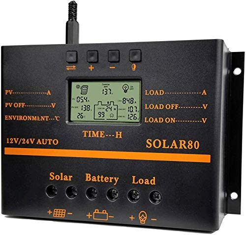 Solar Charge Controller 80A PWM 12V 24V 1920W Solar Panel Charger Discharge Regulator with 5V USB Output Multip Circuit Protection Anti-Fall Durable ABS Housing Discharge Regulator for Lighting System