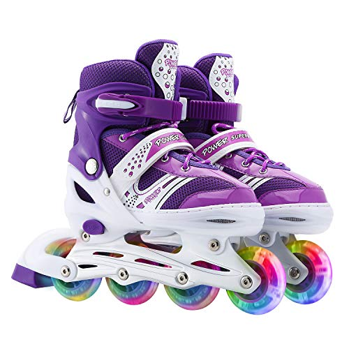 Szulight Kids Adjustable Inline Skates, Perfect First Skates for Girls and Boys with All Illuminating Wheels, Youth Children's Indoor&Outdoor Ice Skating Equipment. (Purple, Medium-Big Kids)