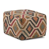 SIMPLIHOME Johanna Square Pouf, Footstool, Upholstered in Kilim Patterned Jute, for the Living Room, Bedroom and Kids Room, Transitional, Modern
