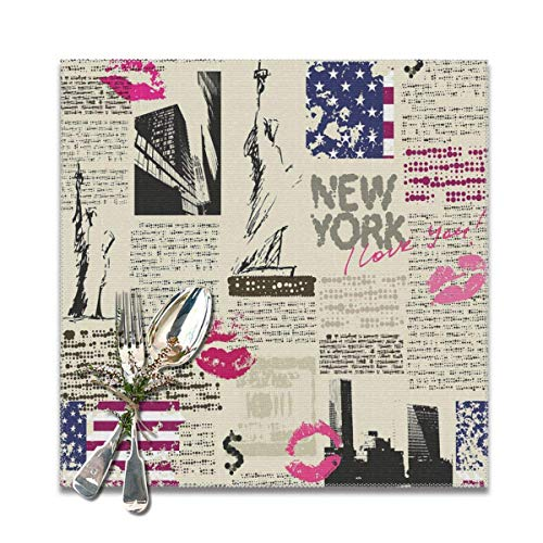 Strawberryran Journal des États-Unis New York avec Sketchy Statue of and Texts Lipstick Vintage 12 X 18 in Set of 4