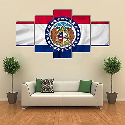GHYTR Ondando Bandera del Estado De Missouri Cuadro sobre Impresión Lienzo 5 Piezas Marco 150X80Cm HD Arte De Pared Modulares Sala De Estar Dormitorios Decoración para El Hogar Póster Regalo