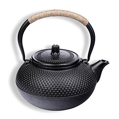 Schramm® gietijzeren theepot 1500 ml geëmailleerd Aziatische thee pot pot theepot Japanse stijl incl. theezeef zwart noppenstructuur