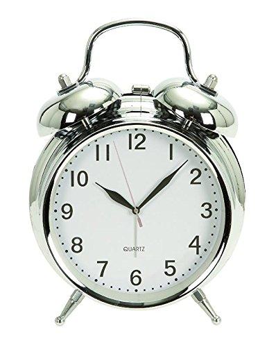 Deco 79 - Reloj de Mesa de Metal (15,2 x 12,7 cm), Color Cromado