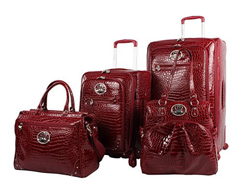 Kathy Van Zeeland Croco PVC Designer Luggage - 4 Piece Softside Expandable Lightweight Spinner Suitcases - Travel Set includes a Dowel and Shopper Bags, 20-Inch Carry On & 28-Inch Suitcase (Burgundy)