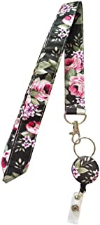 Surlove Womens Office Flower Neck Strap Retractable Fabric Lanyards for Keys Keychains Nurse Badge Holder (Black)