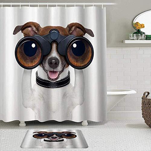 EricauBird Cortina de ducha telescópica, diseño de perro divertido, poliéster, impermeable, cortina de ducha de baño, 182 x 182 cm