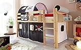 lifestyle4living Hochbett für Kinder in schwarz-weiß-braun und Vorhang mit Piraten-Motiv, Liegefläche 90 x 200 cm, Oberfläche lackiert, Maße: B/H/L ca. 96/114/205 cm