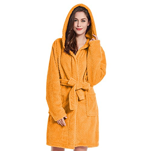 DecoKing Bademantel mit Kapuze S orange kurz Damen Herren Unisex Morgenmantel Steppung weich leicht kuschelig Microfaser Fleece Sleepyhead