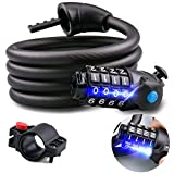 <span class='highlight'><span class='highlight'>Omew</span></span> Bike Lock with LED Light, High Security Bicycle Cable Lock Bike Chain Lock 1.5M/5FT 4-Digit Code Combination Bike Lock for Bicycle Scooters-Black