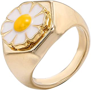 Flower Tulip Daisy Enamel Chunky Wide Band Rings for Women Girls Glazed Statement Middle Finger Tail Cute Stackable Thick ...