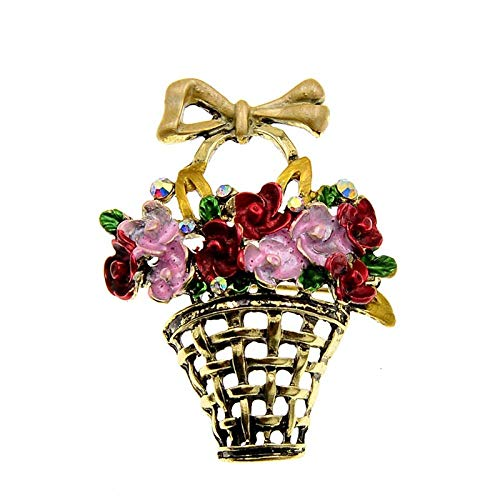 GLKHM Ladies Brooches Vintage Enamel Basket Flower Brooches Women Vintage Fashion Pin Brooch Accessories