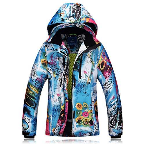 AXIANNV Giacche da Sci Invernali Giacca da Sci Donna Singola Doppia tavola Giacca da Sci Impermeabile Antivento Cappotto Caldo Donna, Blu, XL
