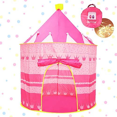 Opret Tente pour Enfants, Tente de Jeu de Château Princesse pour Enfants avec Rideau, Jouet Fille Pliable de Tente...