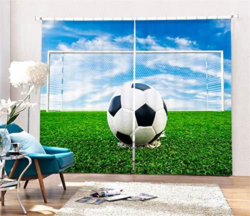 MAOYYM2 Voetbalgordijn luxe verduisterd 3D-venster gordijn voor woonkamer slaapkamer H85 X W105Inch