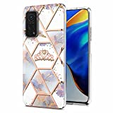 Miagon Marble Series Case for Xiaomi Mi 10T PRO,Slim Bumper for Girls Thin Stylish Soft TPU Bumper Protective Phone Cover,Purple Marble Flower