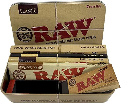 Reds Exklusiv Metalldose Raw mit King Size Slim Zigarettenpapier & Filtertips