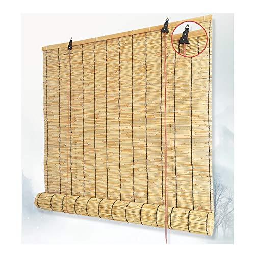 Bambusrollo, Natürlicher Reed-Rollladen, Rollo Bambus, Vorhang, handgewebt, Sonnenschutz, Öko, Belüftung, wasserdicht, Anti-UV, für Innen, Außen, Terrasse, Dekoration, anpassbar,90x250cm/36x99in