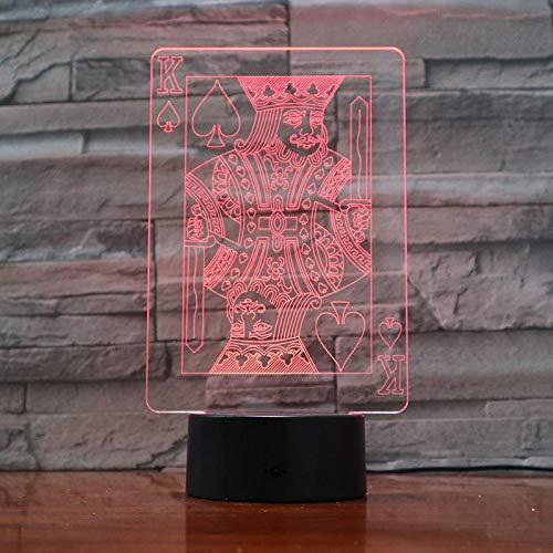 Lámpara de escritorio de mesa de ilusión óptica 3D Poker King7 colores de luz para decoración del hogar Pantalla óptica increíble Regalos de cumpleaños y vacaciones para niños-16 color remote control