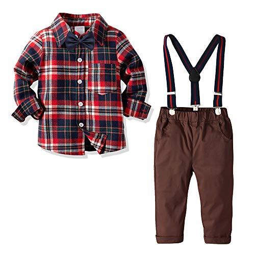 Kleinkind Outfits Frühling Gentleman Hosenträger Jeans Hosen + Shirt Fliege Bekleidungssets Baby Jungen Anzug Osterkostüm