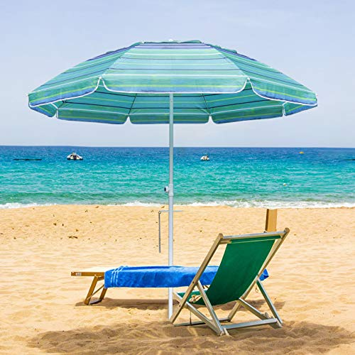 MASTERCANOPY 7FT Portable Beach Umbrella UV50+, Patio Umbrella with Sand Anchor, Tilt Steel Pole and Carry Bag for Patio Gargen Beach Outdoor (8 Ribs) (Turquoise Stripes)