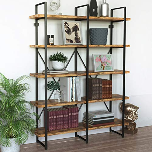 IRONCK Industrial Bookshelf and Bookcase Double Wide 5...