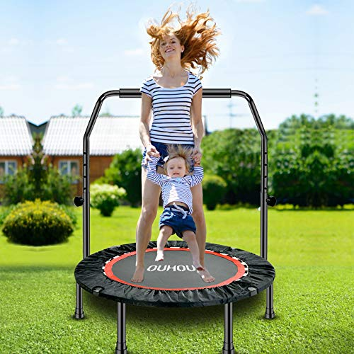 """40"""" Foldable Mini Trampoline Trampoline for Adults Fitness Rebounder with 5 Levels Adjustable Foam Handle,Exercise Trampoline for Adults Indoor/Garden Workout Max Load 500lbs"""