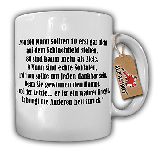 De ware oorloger Sparta 100 honderd man soldaten strijd leger gevecht spreuk militair reservisten - kop koffie beker #16087
