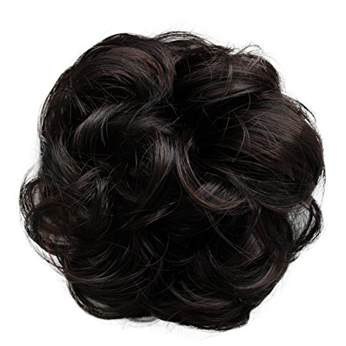 PRETTYSHOP Postizo Coletero Peinado alto, VOLUMINOSO, rizado, Moño descuidado mezcla de color marrón oscuro # 1H32A G33A