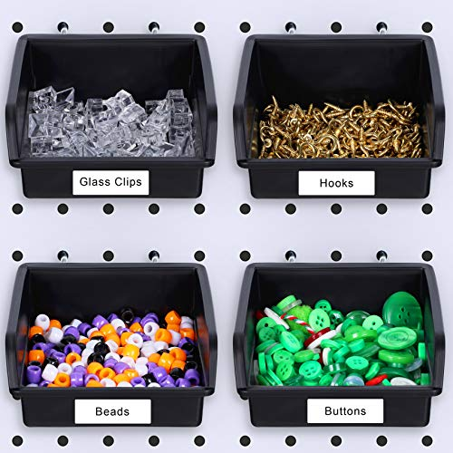 4 Packs Large Pegboard Bins Kit Pegboard Parts Storage Pegboard Accessories Workbench Bins Fit Any Peg Boards for Organizing Hardware/Attachments/Craft Room/Tool Shed/Hobby Supplies/Small Parts