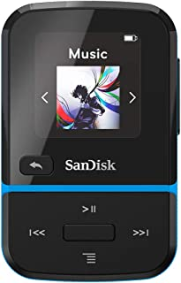 SanDisk 32GB Clip Sport Go MP3 Player, Blue - LED Screen and FM Radio - SDMX30-032G-G46B