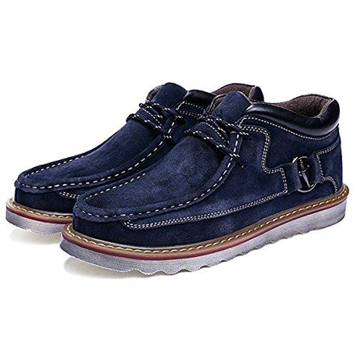 Hombres Zapatos Invierno Botas, Gracosy Nieve de Piel Botines Calentar Botas De Nieve Anti-Deslizante Lazada Zapatos Botas de Trabajo con Cordones Forradas Planas Clásicas Desierto
