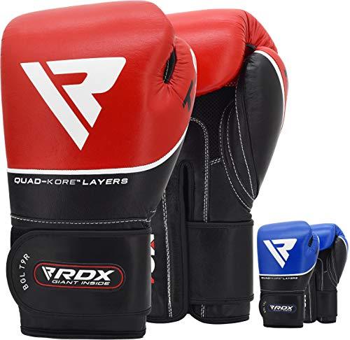 RDX Boxhandschuhe für Muay Thai, Kickboxing, aus Rindsleder, für Training am Boxsack, Sparring, Training und Wettkämpfe, rot, 10 Unzen