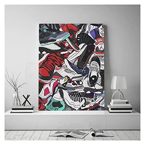 RHWXAX Moderna Arte Zapatillas de Deporte Cultura Pósters y Lienzo Pinturas Inicio Interior Decoración de Pared Arte de Pared Pinturas Colgantes de la Pared 20x28 Inch Sin Marco