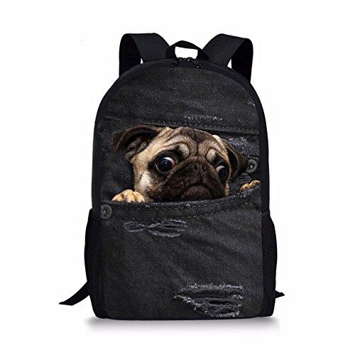 Coloranimal Cute Pug Dog Backpack Kids Vintage Denim Print School Bags Girls Bookbags