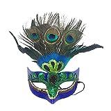 Máscara De Maquillaje Máscara De Prom Peacock Máscara De Plumas Máscara De Fiesta Mascarada Veneciana Máscara para Mujer Azul